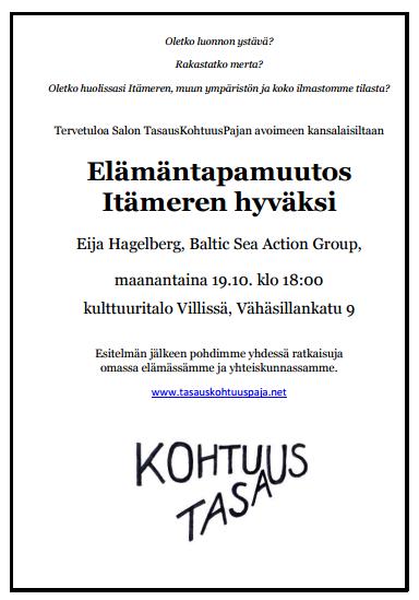 Elämäntapamuutos Itämeren hyväksi tasaus ja kohtuus