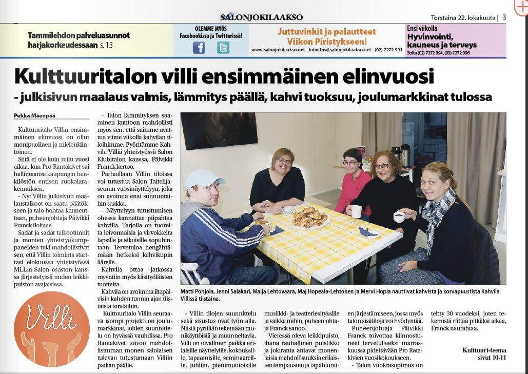 Kulttuuritalo Villi ensimmäinen elinvuosi -Salonjokilaakso