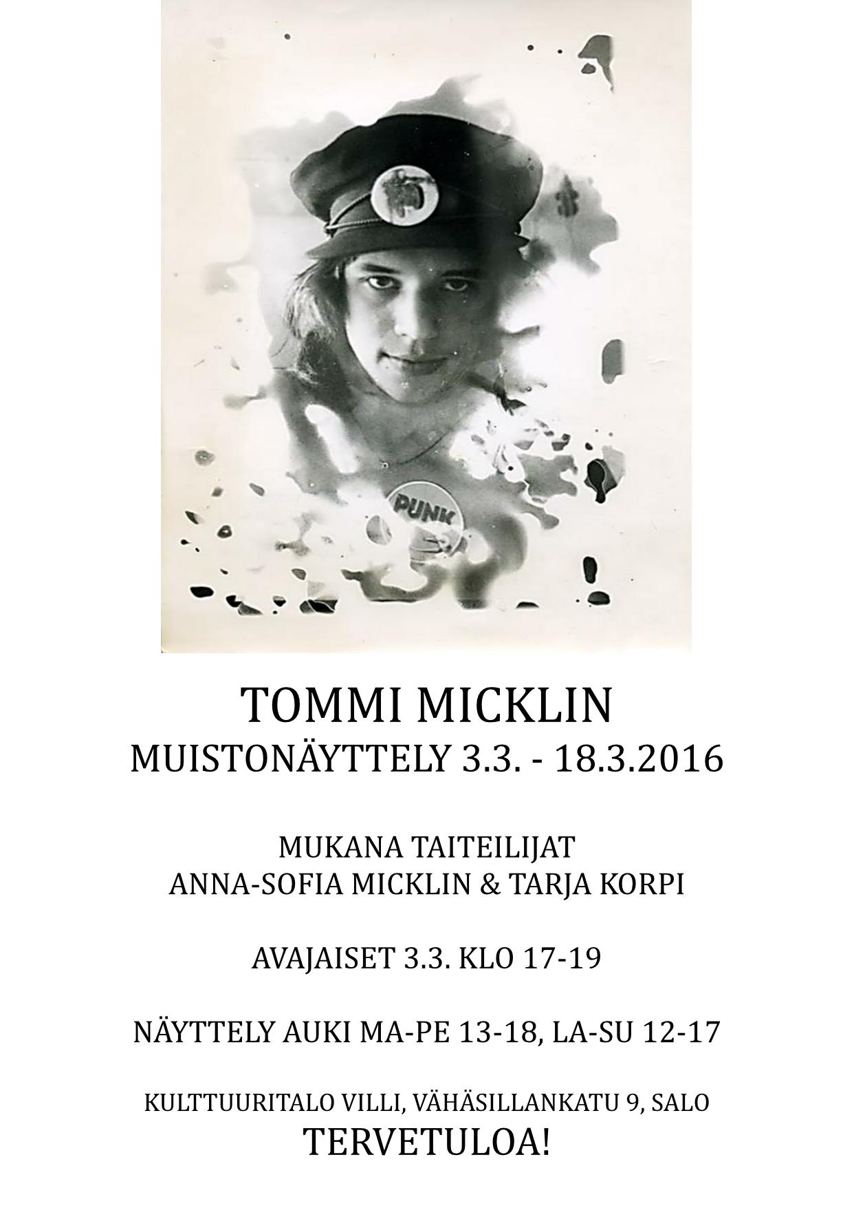 Tommi Micklin muistonäyttely mainos-1